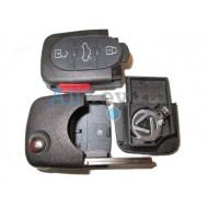 Audi корпус выкидного ключа зажигания, 3 кнопки+panic, с местом под 2 батарейки