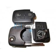 Audi корпус выкидного ключа зажигания, 2 кнопки, с местом под 1 батарейку