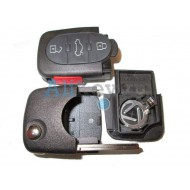 Audi корпус выкидного ключа зажигания, 3 кнопки+panic, с местом под 1 батарейку