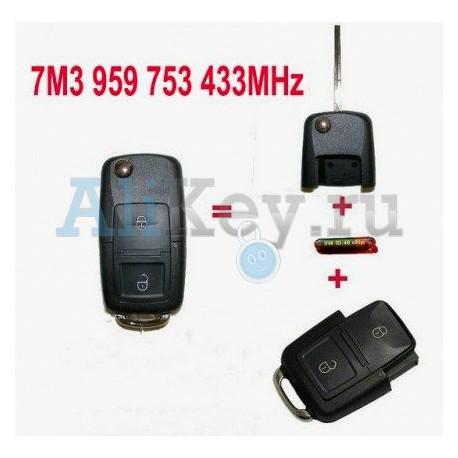 Volkswagen выкидной ключ с дистанционным управлением (2 кнопки)